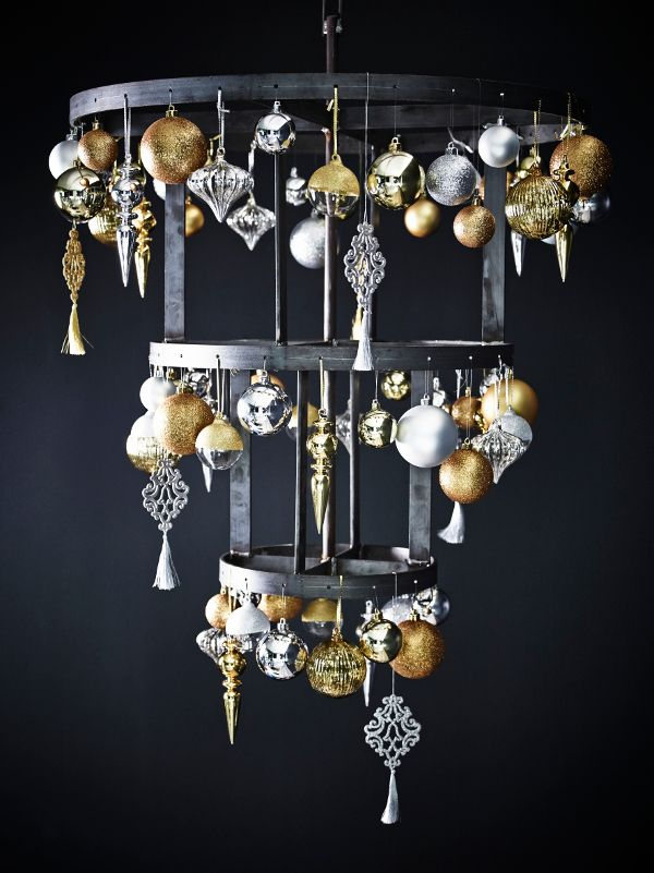black and gold chandelier source - Black And Gold Christmas Decorations