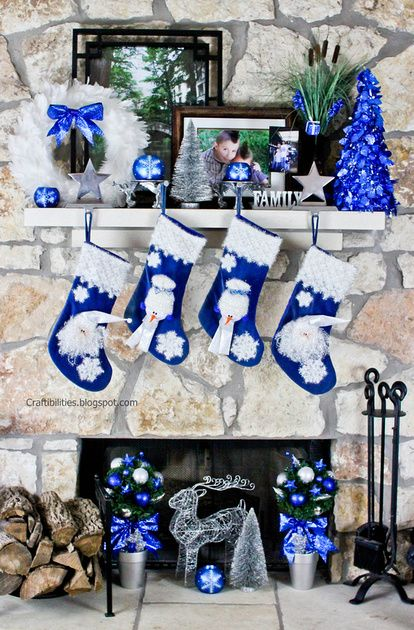 blue and white mantelpiece source - Blue And White Christmas Decorations