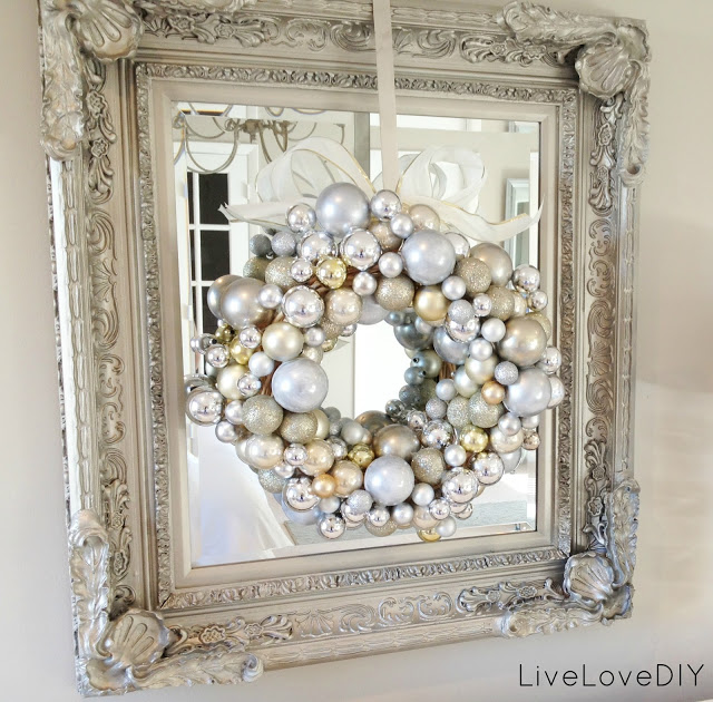 gold white and silver ornament wreath image source