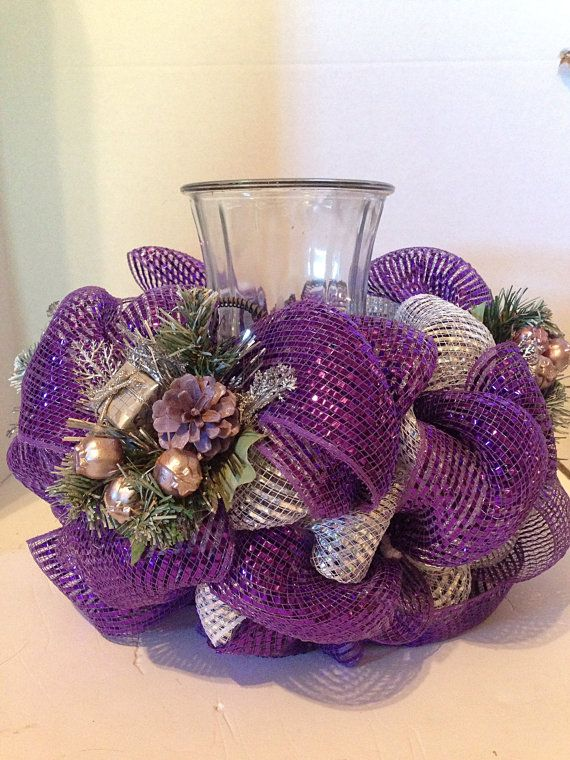 purple christmas centerpiece source - Purple Christmas Decorations Ideas