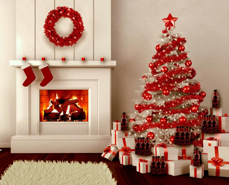 this living room featuring red christmas decorations is truly breathtaking the shade of red against white gift boxes walls and christmas tree is truly - Red Christmas Decorations