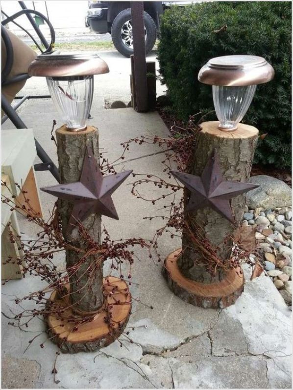 rustic log decoration - Rustic Outdoor Christmas Decorations