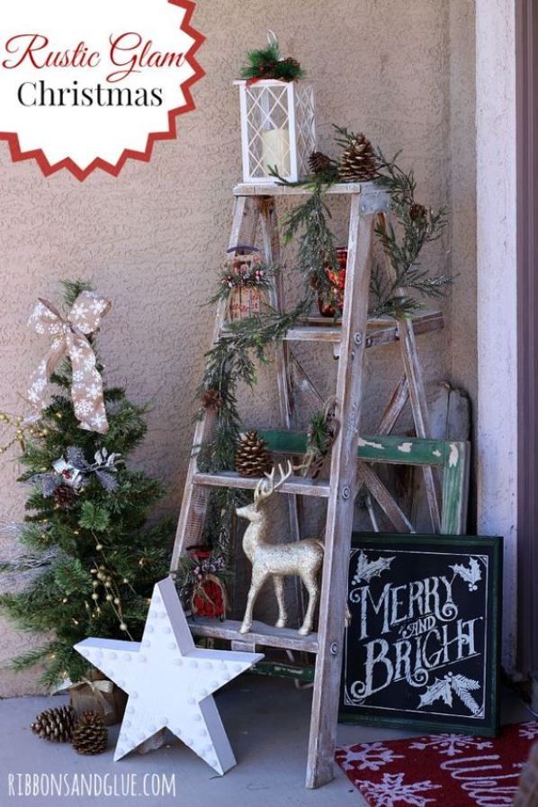 rustic outdoor christmas decorations - Christmas Ladder Decor