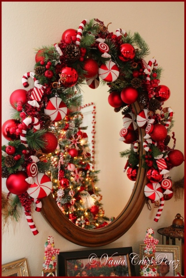 mirror decoration with candy cane source - Candy Cane Christmas Tree Decorations