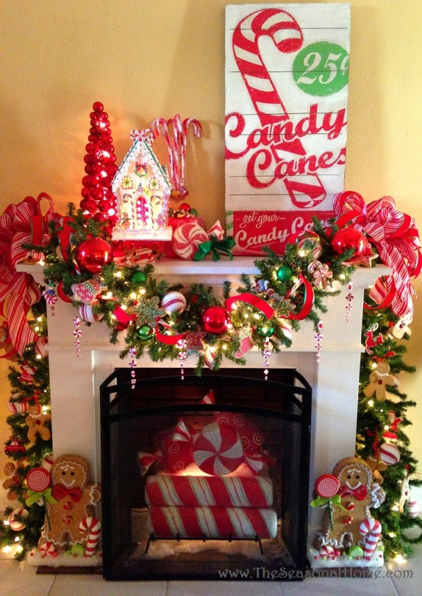 christmas mantel decoration source - Candy Themed Christmas Decorations