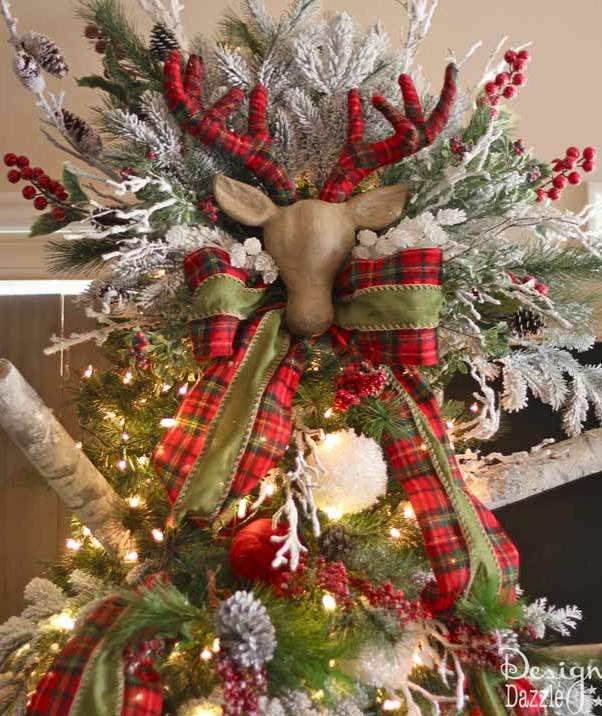 plaid decoration on christmas tree source