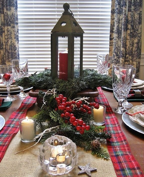 plaid table runner decor source