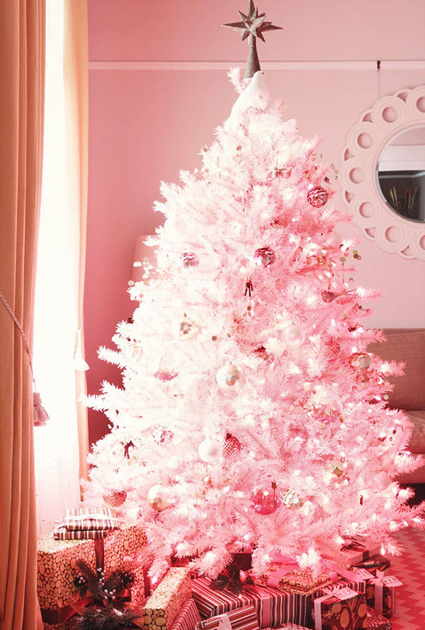 how dainty and adorable this pink christmas tree isnt it i love how the light illuminates inside it making the ornaments and the tree itself looks so