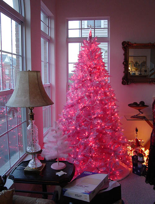 ornaments and christmas balls to your christmas tree but still want it make it pink simple get a pink christmas tree light it led lights and presto - Light Pink Christmas Tree