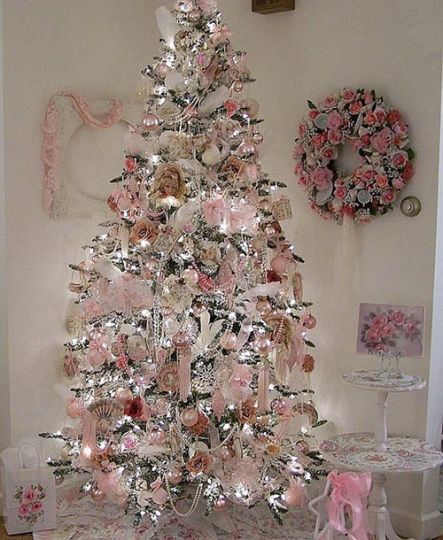 but if youre one of those classical people who love victorian theme this christmas tree decorating idea is for you decorated with pink laces old - Pink Christmas Decorations Ideas