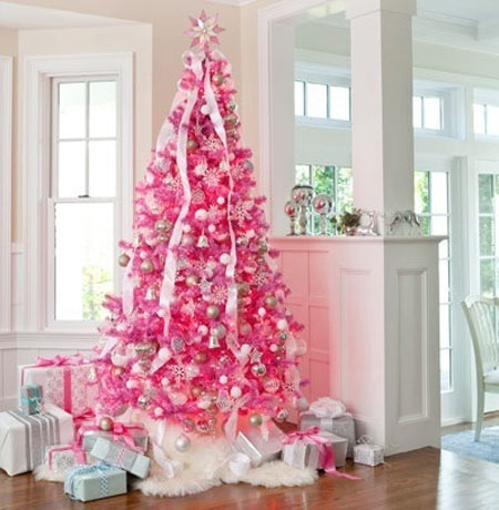 heres another tree that uses ribbons and pink ornaments the only different is that the actual tree is colored pink this makes that light colored - Light Pink Christmas Tree