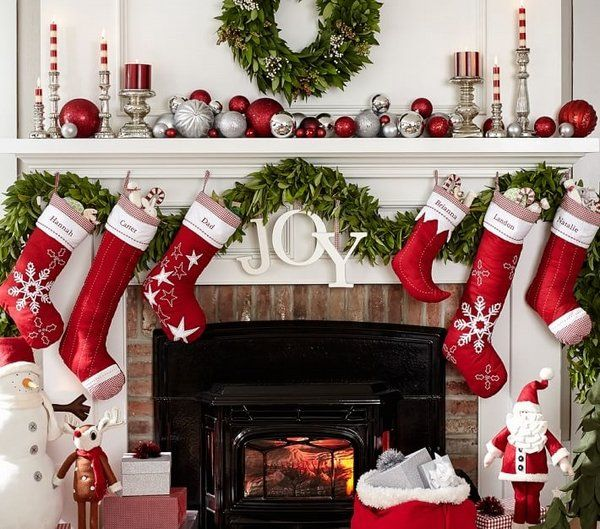 red fireplace mantel decorations - Images Of Fireplace Mantels Decorated For Christmas