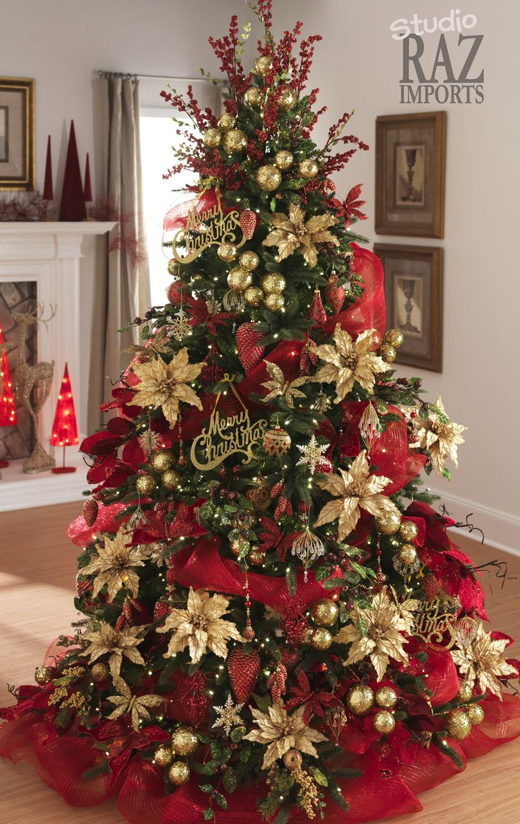 Awesome Red Silver Christmas Tree Decorating Ideas Part - 3: Traditional Red Christmas Tree