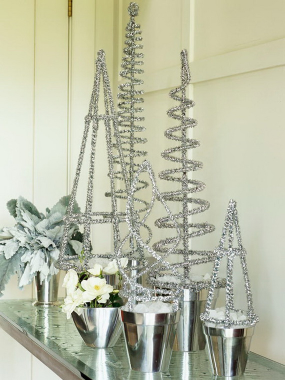 Silver table top christmas decorations decorating ideas
