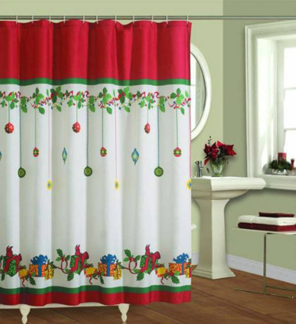 Top 40 beautiful designs of christmas bathroom curtains for Bathroom xmas decor