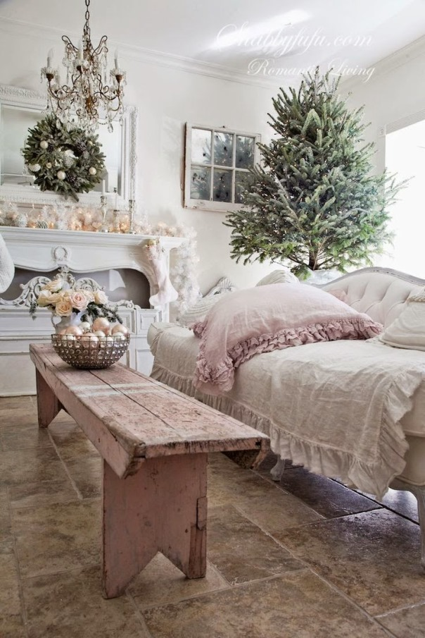 top 40 shabby chic christmas decoration ideas christmas. Black Bedroom Furniture Sets. Home Design Ideas