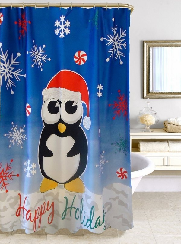 Penguin Print Christmas Curtain: Source