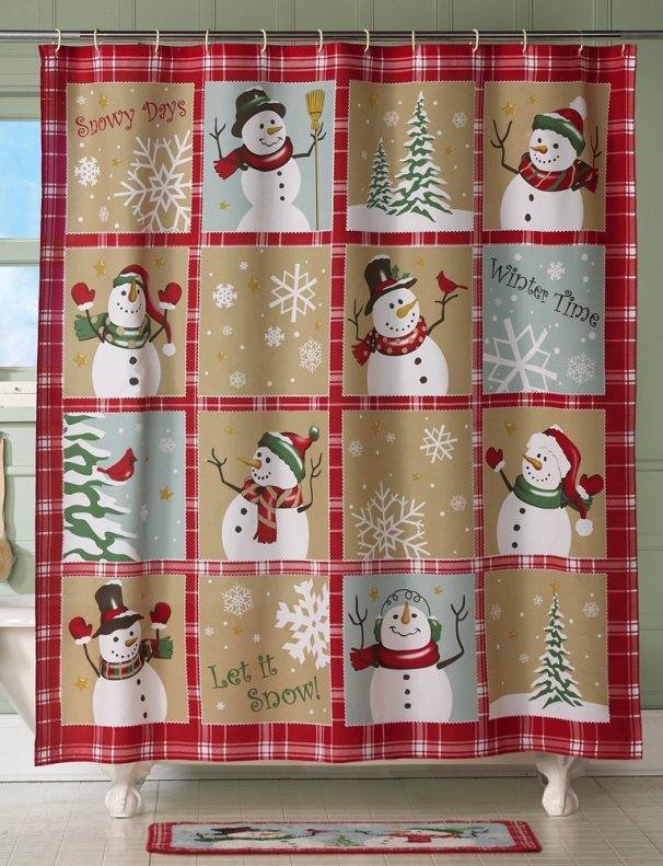 winter time christmas curtain