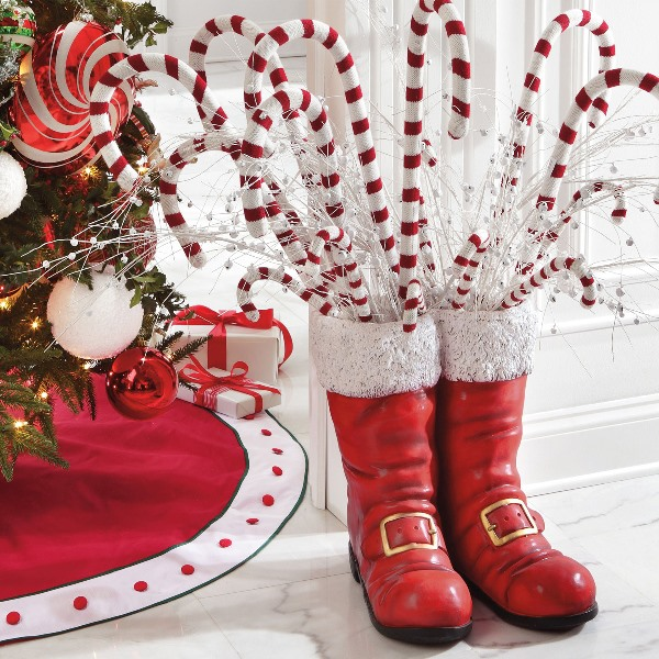 3. Santa Boots With Candy Cane