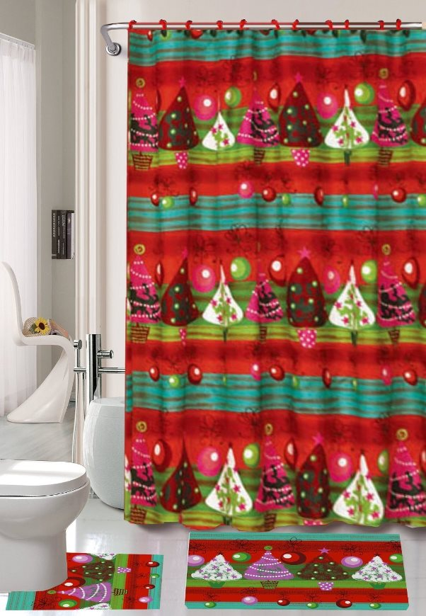 Top 40 Beautiful Designs Of Christmas Bathroom Curtains - Christmas ...