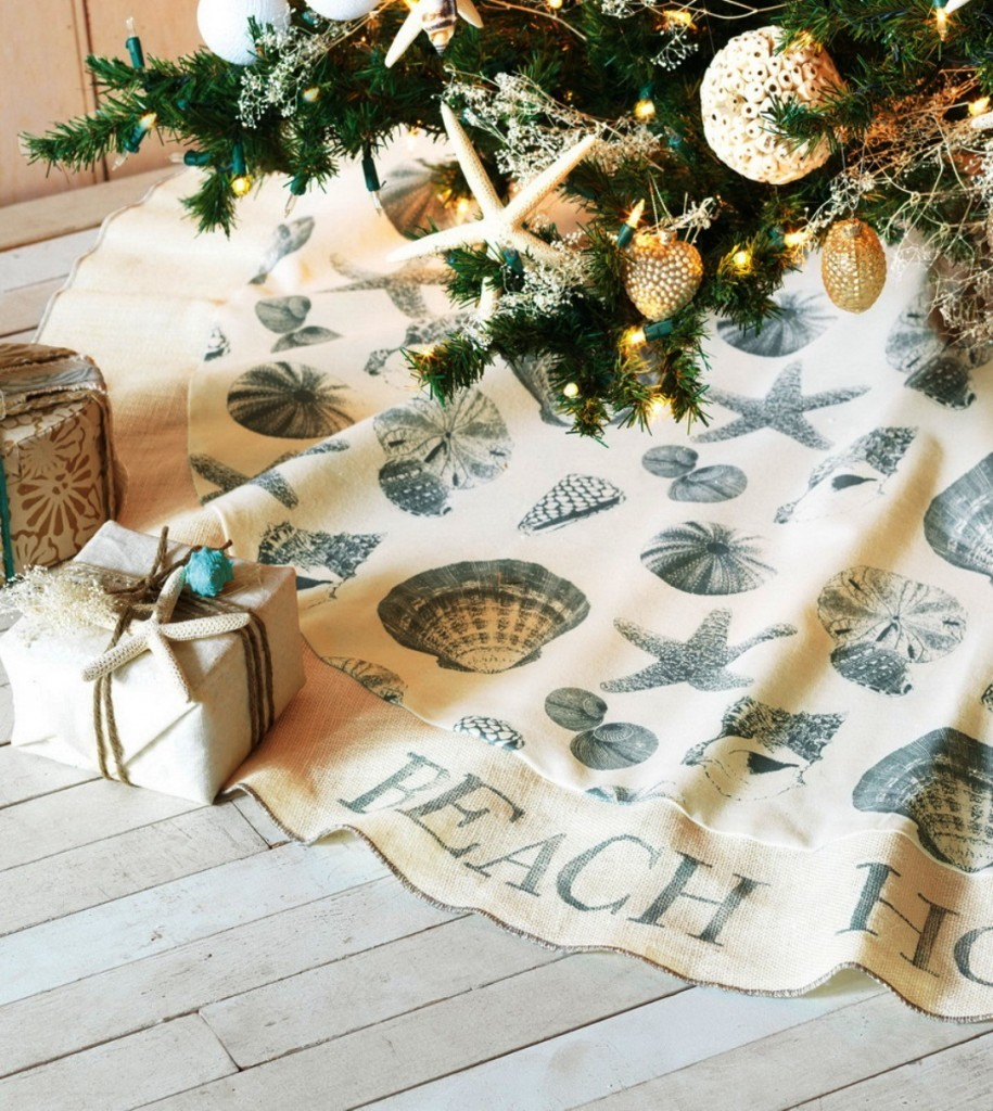 christmas tree skirt source - Coastal Themed Christmas Decorations