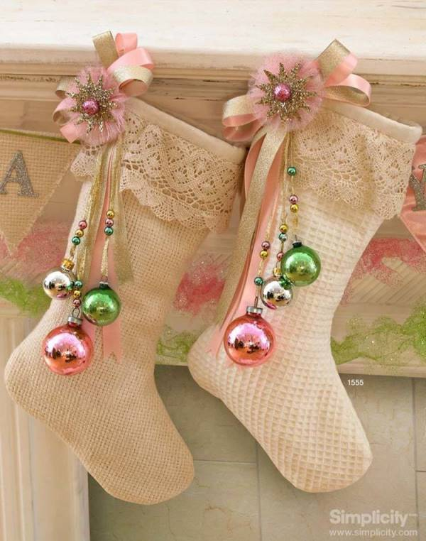 shabby chic christmas stocking idea source