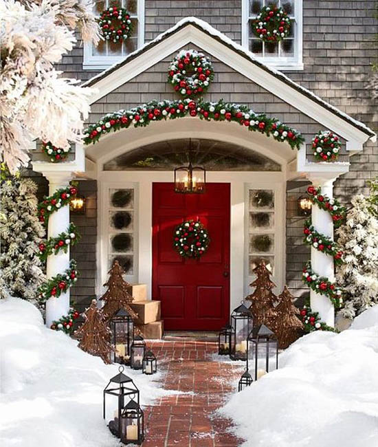if you have a plain white house you can fill up your exterior with the traditional colors of christmas to brighten it up try to add some wreaths with a