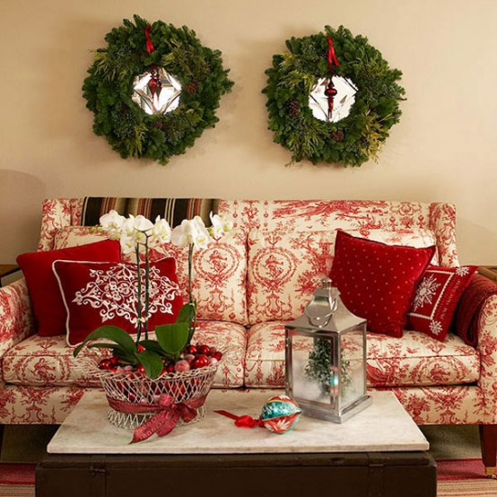 for those who love green and red for their living room this traditional christmas decor idea is for you match those sofa and pillows with green wreath on