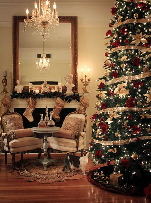 Traditional Giant Christmas Tree. A great way to set the festive mood is by  decorating your home with lots of Christmas lights and stylish ribbons. - Top Traditional Christmas Decorations - Christmas Celebration - All