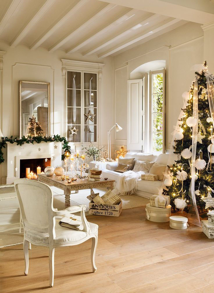 white and gold reign supreme in this contemporary christmas decoration idea the beauty of this living room sure to remind you all of the christmas stories - Contemporary Christmas Decorations