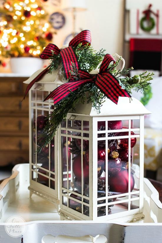fill a glass lantern with ornaments