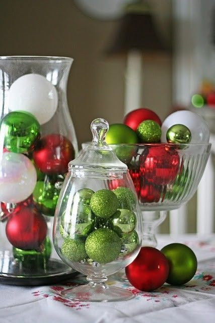 fill the jars with ornaments
