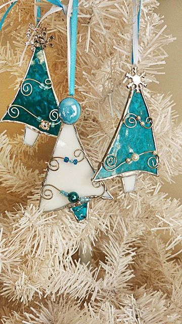 stained glass ornament - Glass Christmas Decorations