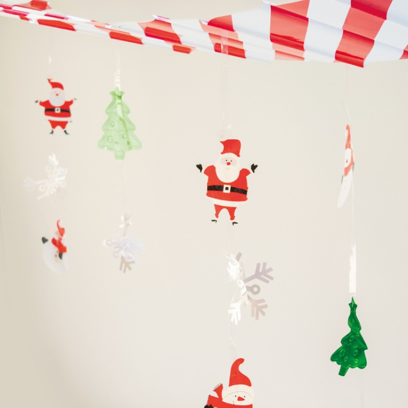 this ceiling decoration features snowmen santa snowflake and christmas tree cutouts suspended from a red and white banner - Christmas Ceiling Decorations
