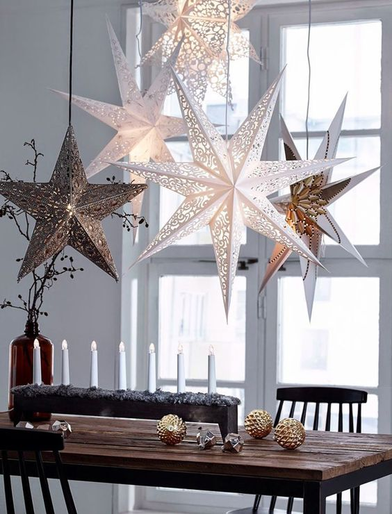 if you like to play safe for christmas decoration start using the christmas stars they are available in different colors and sizes - Christmas Ceiling Decorations