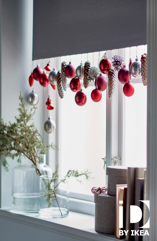 Hang Pinecone And Ornaments From The Windows: