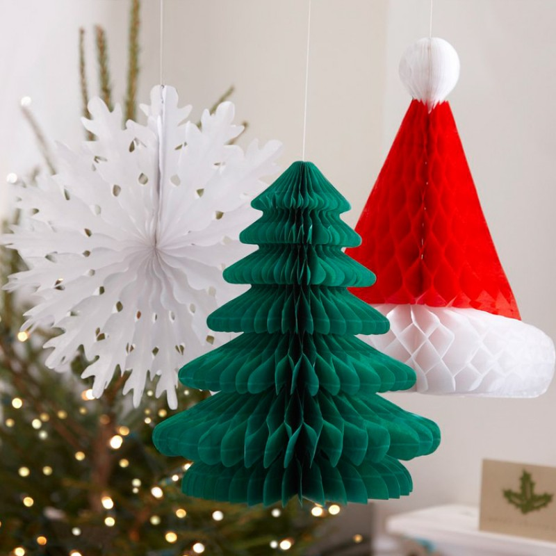 could there be anything more festive than santa and christmas trees during the yuletide season nothing right so add a festive touch to your childs home - Hanging Christmas Decorations