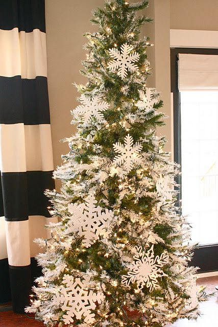 White ornaments are classic; you can even consider decorating your tree  with snowflakes. Top it with LED lights, and it will look magical. - Snowflake Christmas Decoration Ideas - Christmas Celebration - All