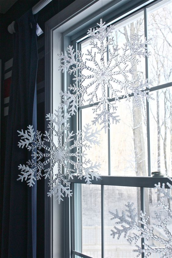 hang snowflakes from your windows