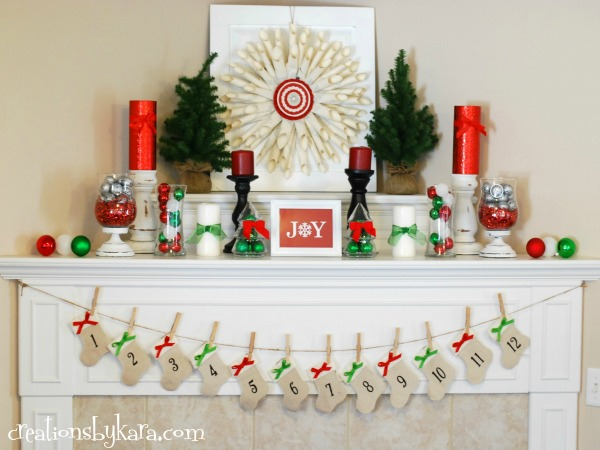 Here's a beautifully and festively decorated Christmas mantel to welcome  the holiday season. The combination of red and green against the white  background ...