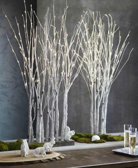 Get Your Home Ready To Welcome The Holiday Spirit With This Chic And Modern Christmas Table Decor Dried Branches Light Will Surely Give