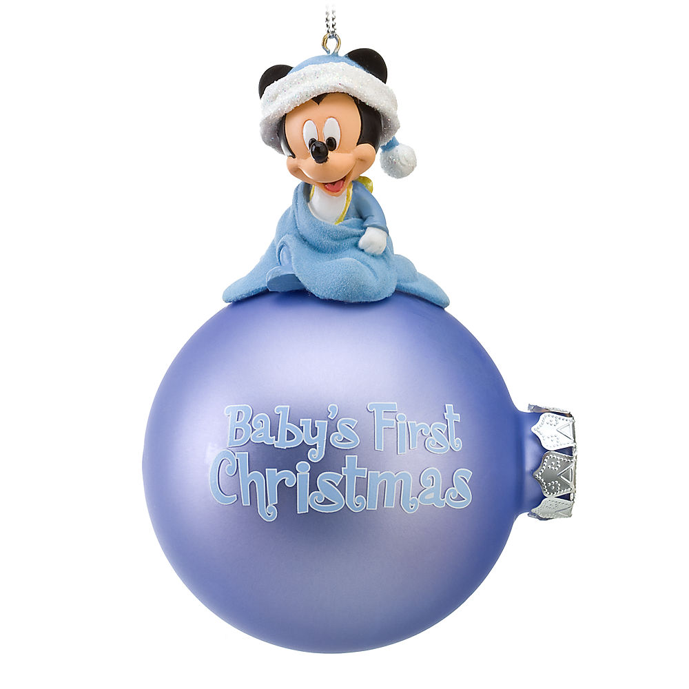 This Mickey Mouse Bauble Is Ideal For Your Baby's First Christmas It  Features Baby Mickey Mouse Wrapped In A Blanket And Flocked On Top Of The  Bauble