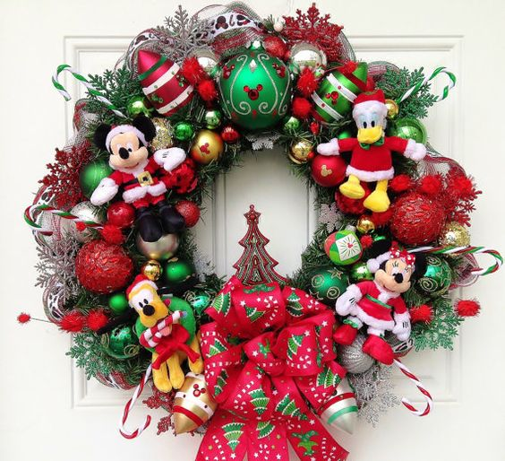 this mickey mouse wreath features all of mickeys friends minnie goofy and donald it is so pretty that you can put it all year round - Mickey And Minnie Christmas Decorations