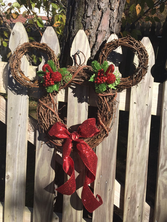 this utterly adorable christmas wreath can easily be recreated using a twig wreath as the base shape it as mickeys head decorate it with ribbons and hang - Disney Frozen Outdoor Christmas Decorations