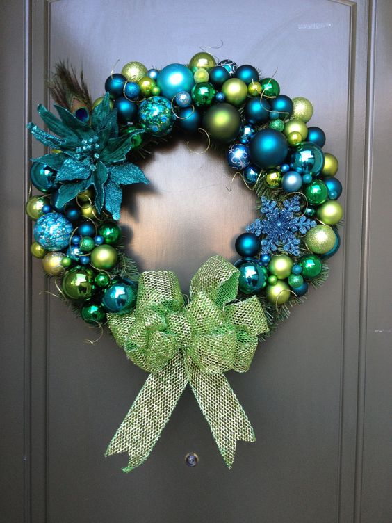peacock christmas wreath - Peacock Blue Christmas Decorations