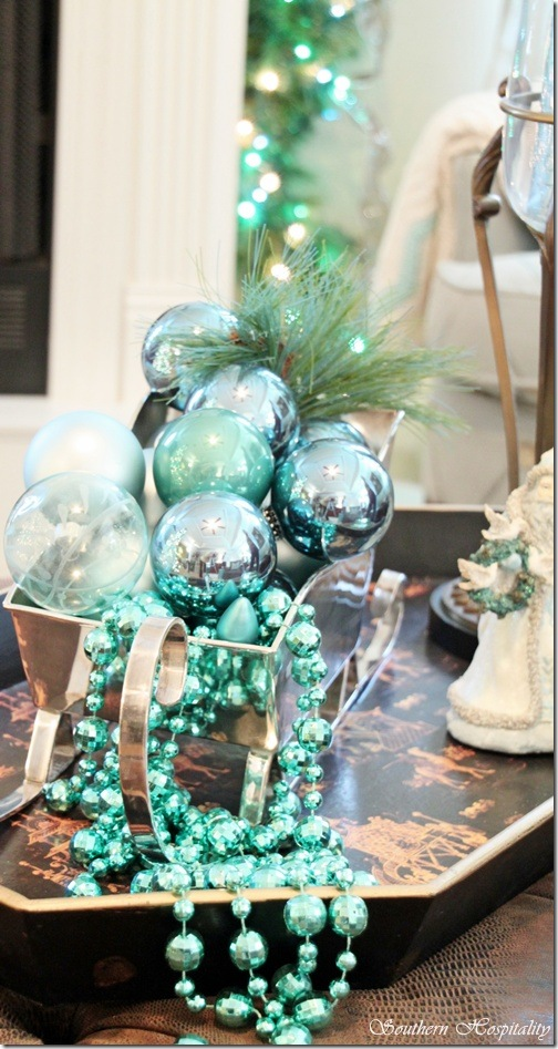 for a quick and easy decoration arrange baubles ornaments and beads in different shades of teal in a silver or glass container and place it on the coffee - Teal And Silver Christmas Decorations