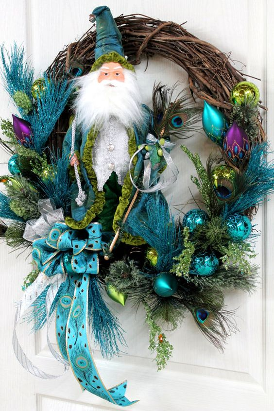 beautiful peacock feather wreath - Teal Christmas Ornaments