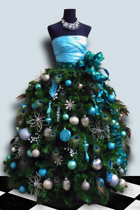 a unique christmas tree - Teal Christmas Ornaments