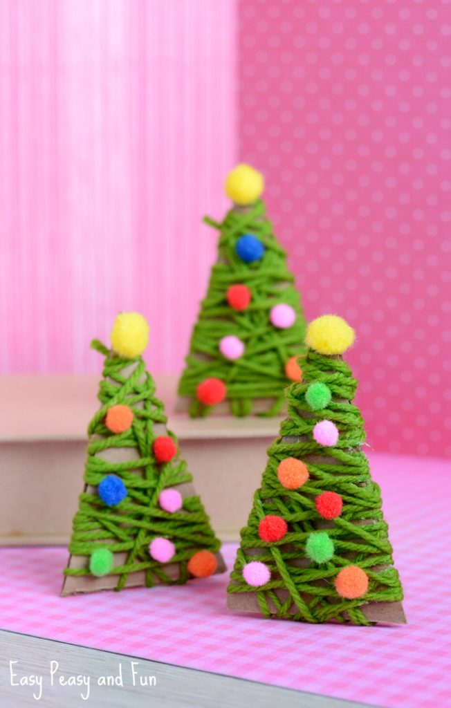 This yarn wrapped Christmas tree won't just make a frugal ornament for your  tree, but is also an excellent craft to do with your children. - 26 Inexpensive Christmas Tree Decoration Ideas - Christmas