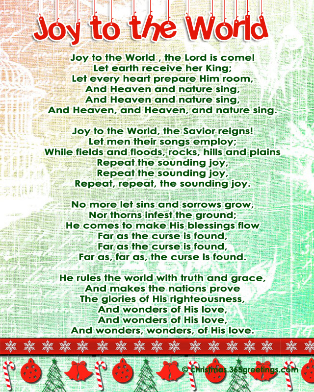 Sheet Music And Lyrics To Joy To The World: Popular Christmas Carols
